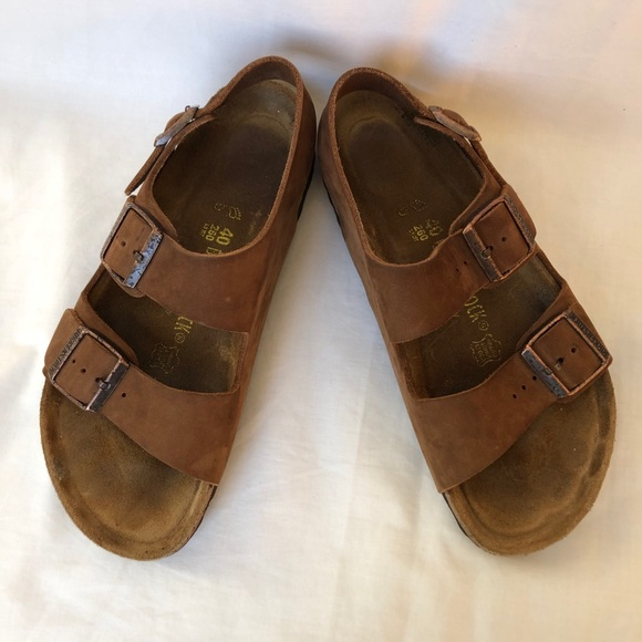 BIRKENSTOCK Milano Buckle Sandals Brown Size 40